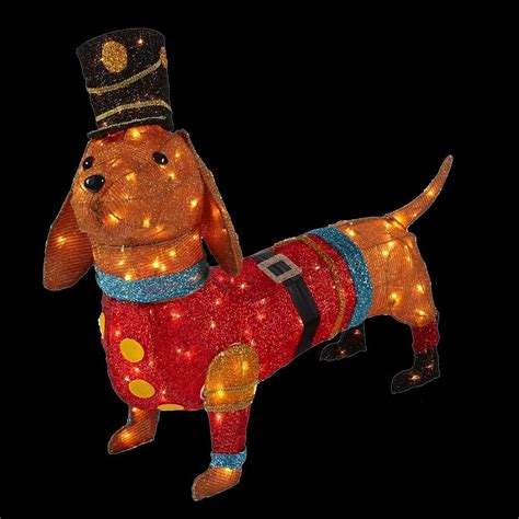 home accents holiday 40 in pre lit tinsel dachshund dog