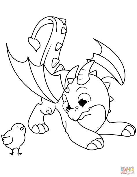 cute dragon  chick coloring page  printable