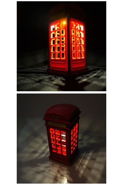 red retro classic london telephone booth usb led night