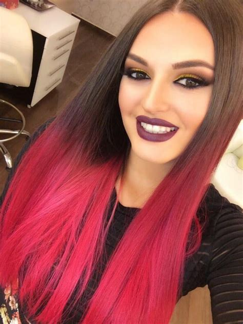 Encas Red And Brown Dip Dyed Hair Hair Colors Ideas