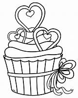 Cupcake Outline Clip Cupcakes Clipart Clipartion Hearts Heart sketch template