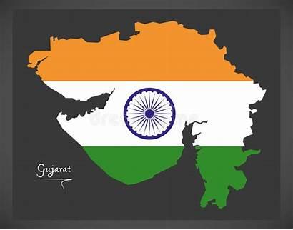 Gujarat Map Flag Indian Vector National Illustration