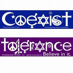 Coexist and tolerance magnetic bumper stickers vehicles for Kitchen cabinets lowes with coexist bumper stickers