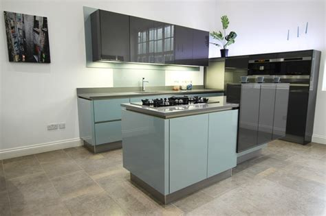 blue gloss kitchen cabinets high gloss steel blue acrylic kitchens 4811