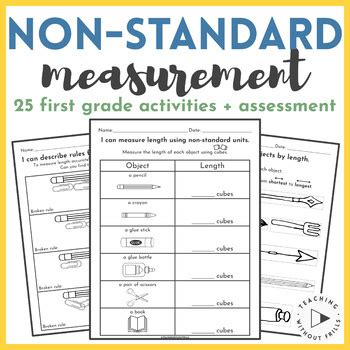 The third grade unit contains a teacher instruction page and multiple worksheets and activities for students to practice their measuring skills. |First Grade| Non-Standard Measurement Packet for ...