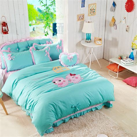 pink and mint green bedroom home textile cartoon style mint green and pink lace 19454 | Home Textile Cartoon Style Mint Green And Pink Lace Ruffled 100 Cotton 3 4 Pcs Bedding