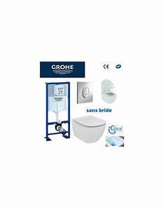 Wc Suspendu Sans Bride : pack wc grohe cuvette sans bride ideal standard plaque ~ Dailycaller-alerts.com Idées de Décoration