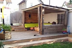 Palette Bois Pas Cher : une terrasse couverte en bois de palettes ~ Premium-room.com Idées de Décoration