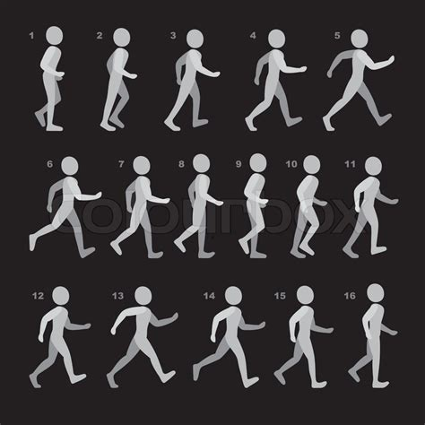 phases  step movements man  walking sequence  game