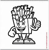 French Fries Coloring Character Plus Google sketch template