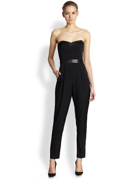 strapless jumpsuit milly strapless bustier jumpsuit in black lyst