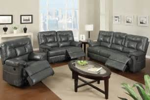 Grey Leather Reclining Sofas and Loveseat Sets