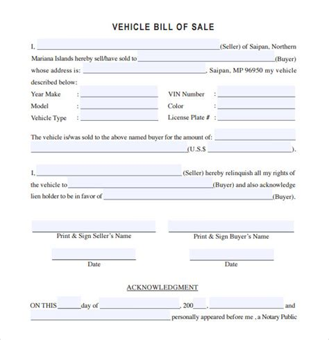 sample vehicle bill  sale templates   ms