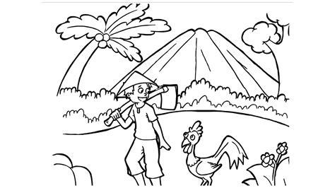 kumpulan sketsa gambar pemandangan crayon