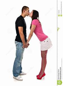 Young Man And Woman Holding Hands And Kissing As A ...