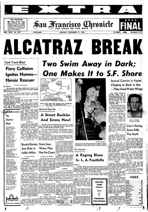 chronicle covers the final escape from alcatraz san
