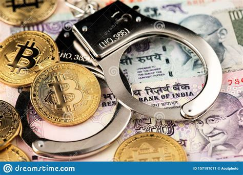 We used 0.000000236 international currency exchange rate. Bitcoin With Indian Rupee And Police Handcuff. Stock Image ...