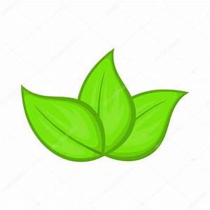 Icono de hojas verdes, estilo de dibujos animados Vector