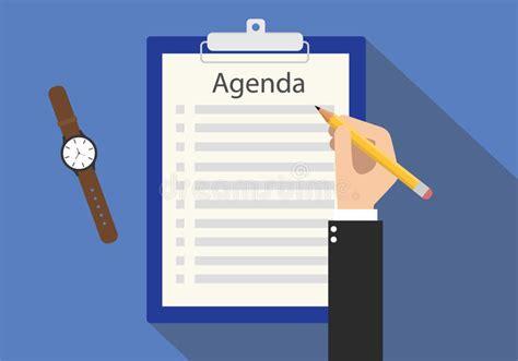 agenda meeting   list  clipboard stock vector