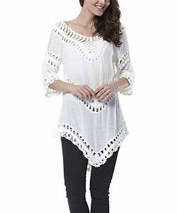Simply Couture White Crochet Panel Tunic from zulily