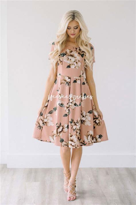 dusty mauve floral dress modest bridesmaids dress cute