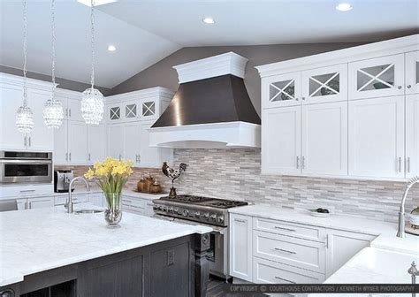 gray backsplash white cabinets 26 best images about kitchens on pinterest