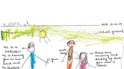 preschoolers produce images  war blood  drawing session