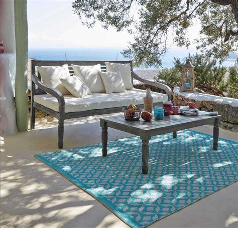 tapis dexterieur en pvc turquoise maisons du monde