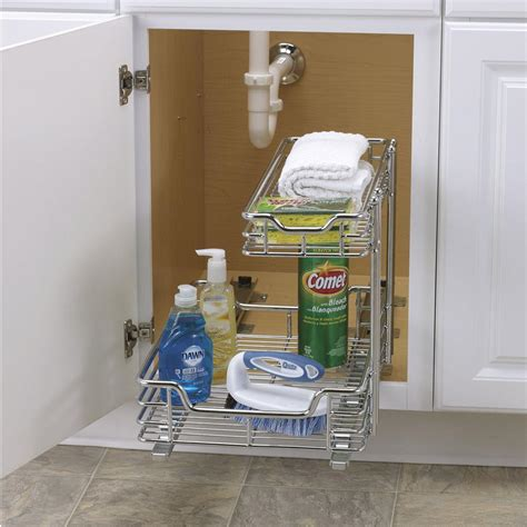 under sink sliding organizer two tier under sink sliding organizer 12 quot household