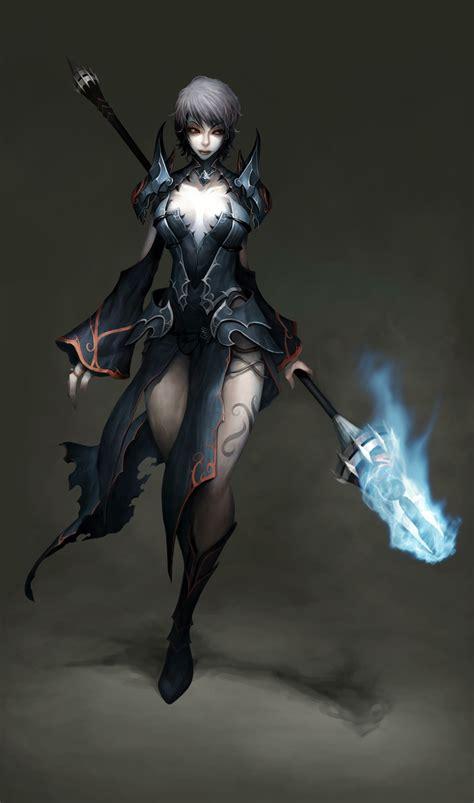 fantasy art armor magic short hair artwork staff
