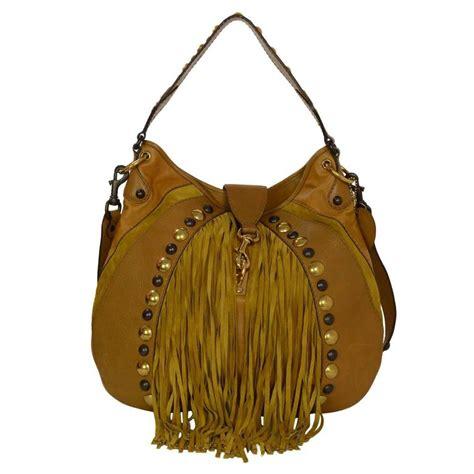 gucci mustard leather  suede fringe babouska hobo bag