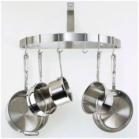 stainless steel pot rack wall mount half circle pot rack in brushed stainless steel wall mount islands and circles