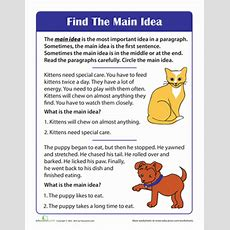Finding The Main Idea Of A Story  Worksheet Educationcom