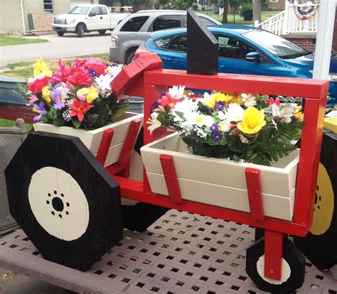 case ih tractor decorated flower pots crafts wood planters
