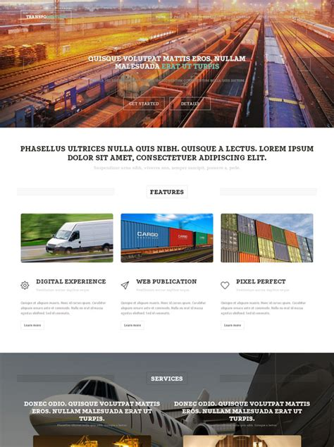 Transport Website Template by Transportation Website Template Cars