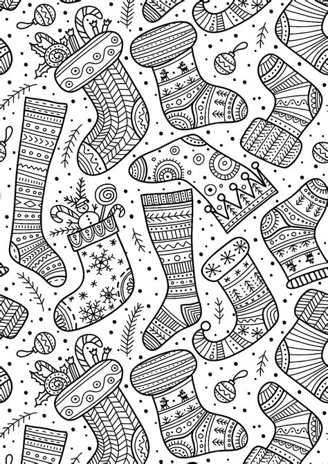 christmas socks  christmas adult coloring pages