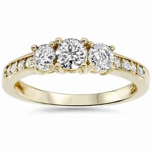 1ct 3 stone diamond engagement ring 14k yellow gold ebay for 1 ct wedding ring