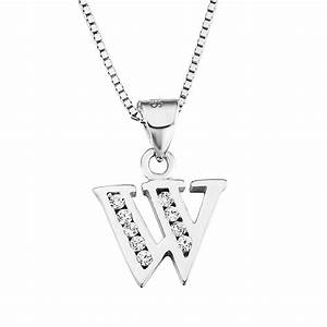sterling silver cz initial letter w pendant necklace With letter w pendant