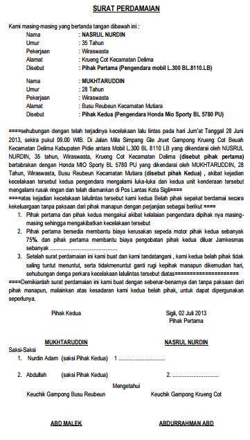 contoh surat perjanjian damai kecelakaan  lintas jalan