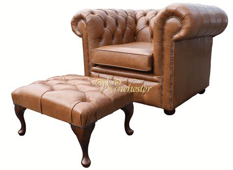 Chesterfield Low Back Armchair Old English Tan Leather