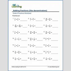Grade 5 Math Worksheet Adding Fractions With Like Denominators  K5 Learning