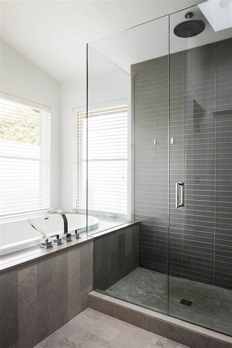 Modern Bathroom Gray Tile by Gray Shower Tile Bathroom Contemporary With Black