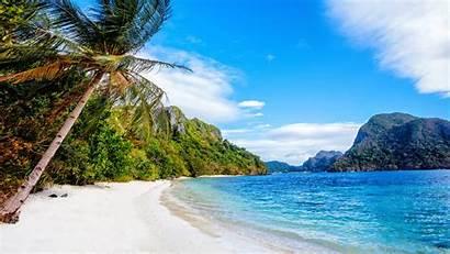 Philippines Beach Palm Sea Sky Trees 4k