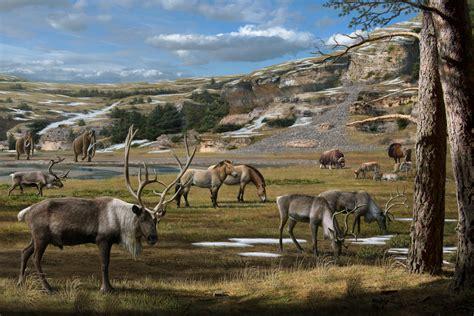 ice age megafauna pleistocene anton mauricio mammoth horse bison landscape musk extinctions gun era during smoking steppe reindeer ox including