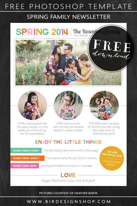 spring family newsletter  photoshop template