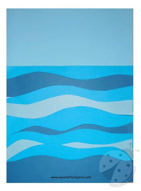 paesaggio marino  barca  carta lavoretti creativi