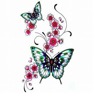 Tattoo Fleur De Cerisier : tatouage ephemere fleur de cerisier japonais papillon ~ Melissatoandfro.com Idées de Décoration