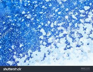 White Real Snowflakes Falling On Blue Background Stock ...