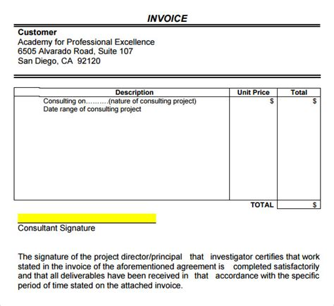 sample invoice  consulting apcc
