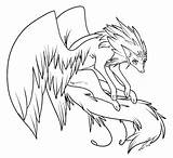 Coloring Anime Wolves Pages Print Wings Sheets Source sketch template